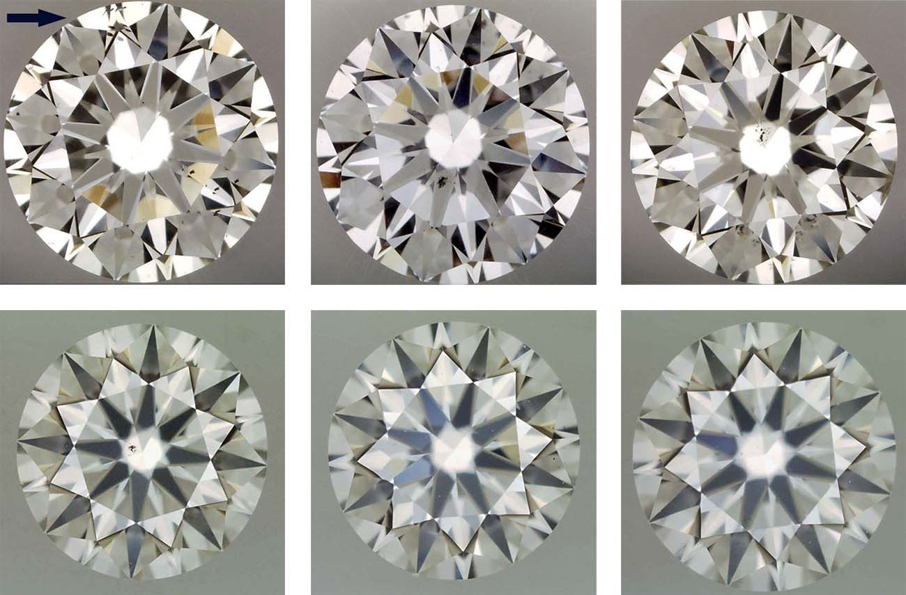 Diamond clarity comparison of VS1 , VS2 , SI1 , SI2