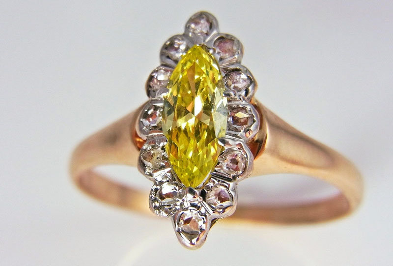 Summer Jewelry. Victorian Yellow Diamond ring
