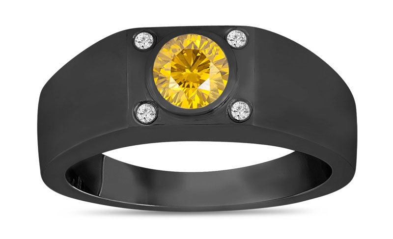 Summer Jewelry. Yellow Diamond Solitaire Mens